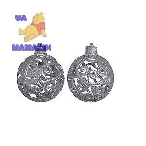 Шар d-8 см, 2шт/уп, серебряный с глиттером
