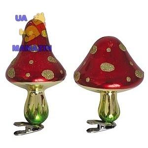 """Гриб """"Новогодний"""" 6х8,5 см красный с золотом - 1 штука"""