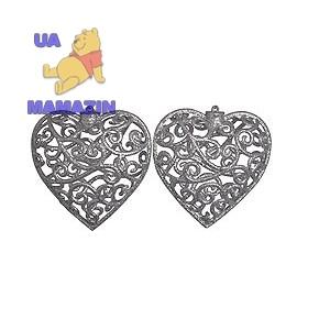 Сердце 10 см, 2шт/уп, серебро
