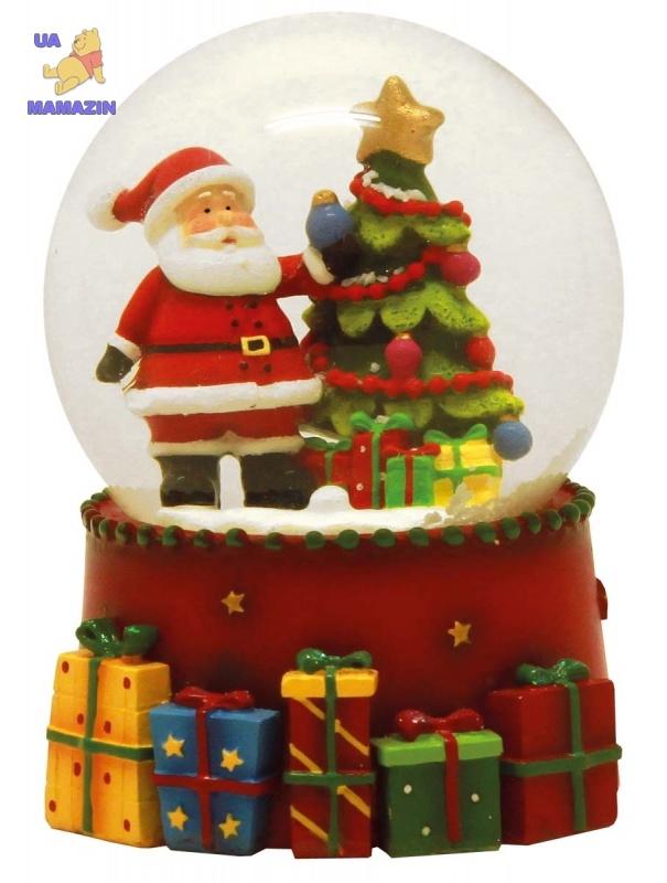 """Сувенир водный шар d-65мм  """"Дед Мороз на подставке"""""""