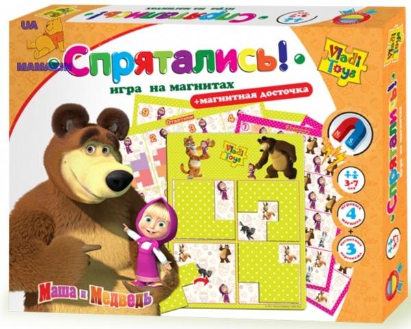 Игра на магнитах Маша и медведь. Спрятались ТМ Vladi Toy