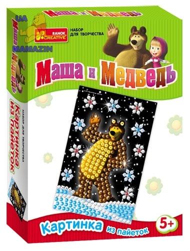 "Картинка с пайетками ""Маша і ведмідь. Мишка"" ТМ Ranok Creative"
