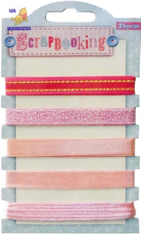 Набор лент декоративных металлизированных, оттенки розового