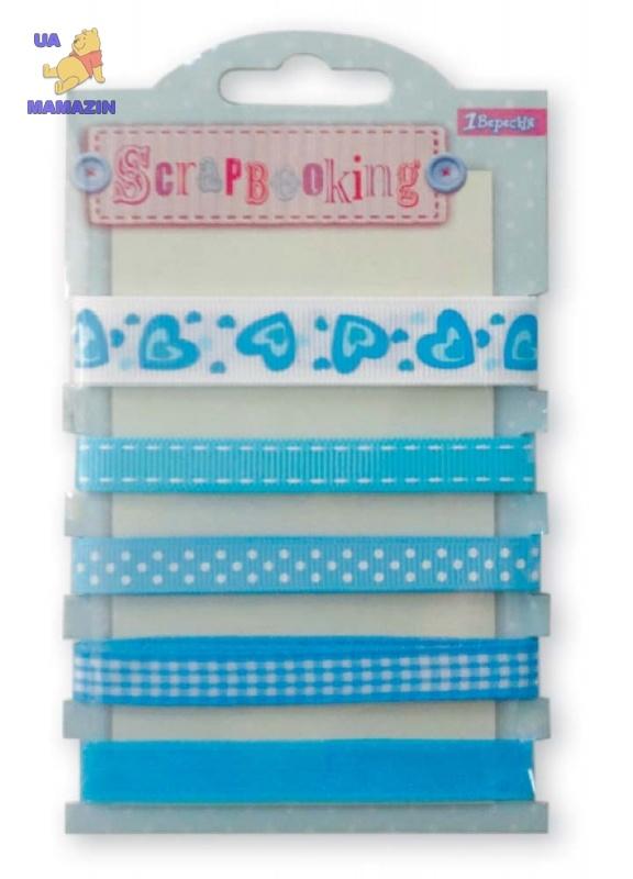 Набор лент декоративных с узором, оттенки голубого