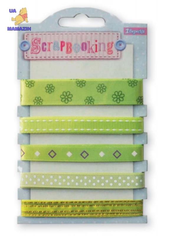 Набор лент декоративных с узором, оттенки зелёного
