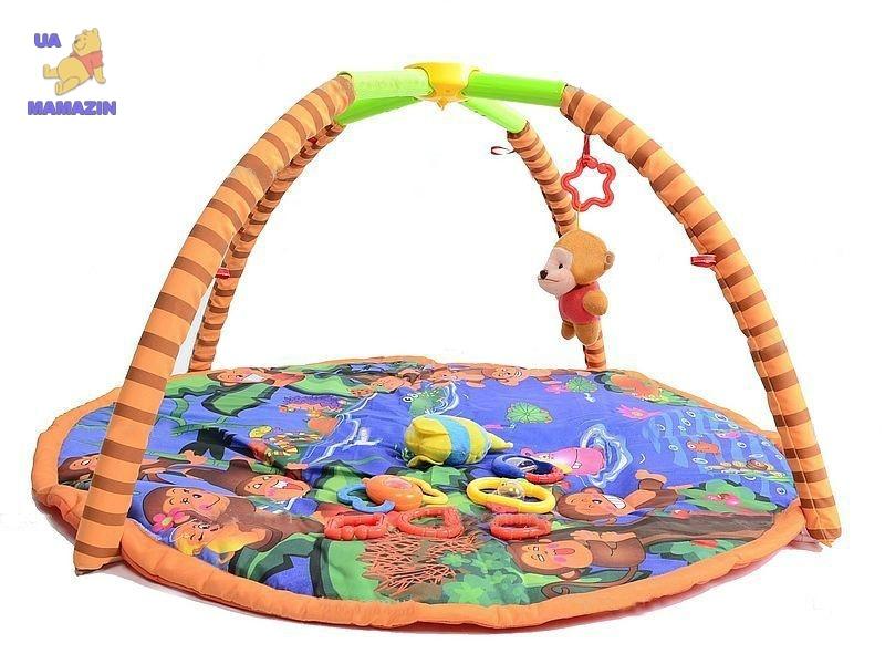 Детский коврик с погремушками, на дуге