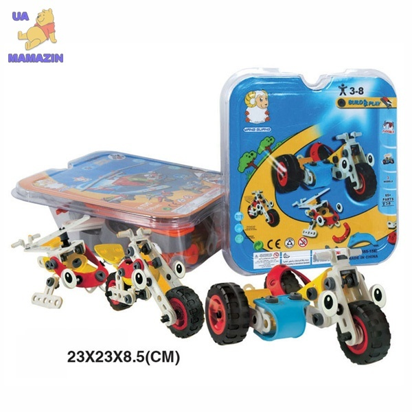 Конструктор пластиковый (3 модели мотоциклов вертолетов)