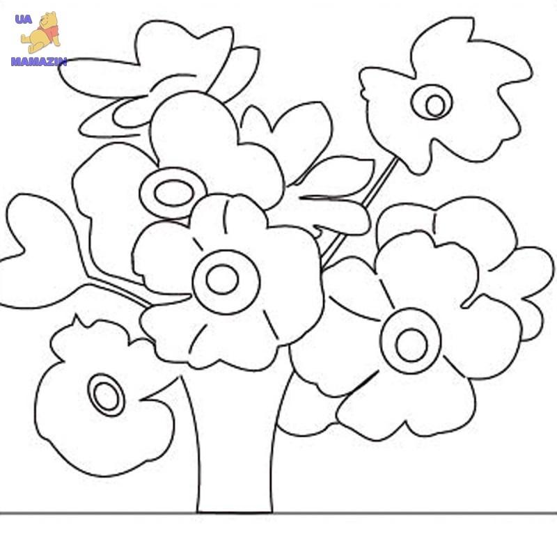 """Холст с контуром """"Полевые цветы"""" с красками"""