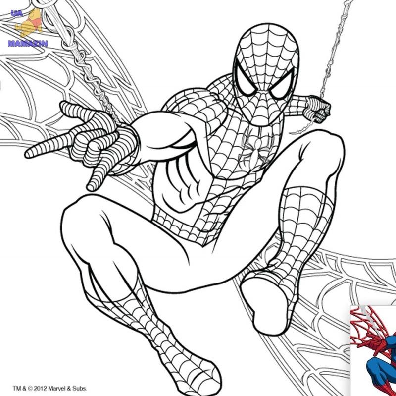 """Холст с контуром """"Человек-паук"""" с красками"""