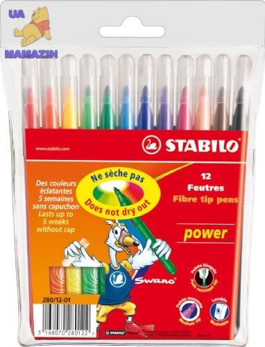Фломастеры 12 цв. STABILO Power