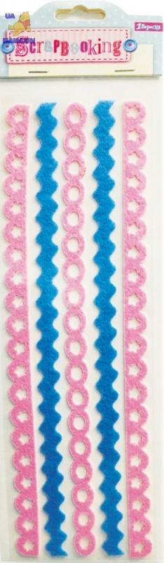 """Наклейки для творчества """"Тесьма"""", розовая и голубая"""