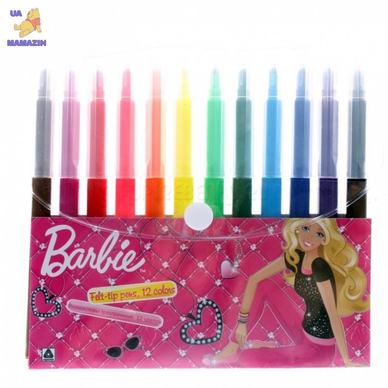 Barbie. Набор цветных фломастеров эргономической формы (12 шт)