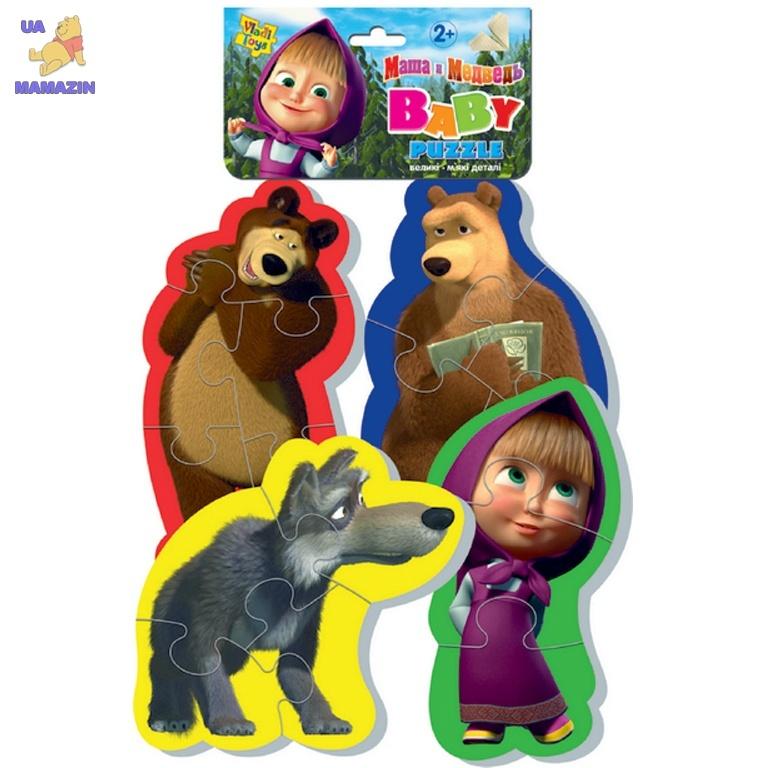 Беби пазлы Маша и медведь (волк) ТМ Vladi Toys