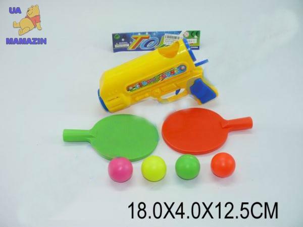 Набор для тенниса, пистолет, шарики, 2 ракетки