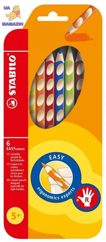 Карандаши  6 цв. для правши STABILO EASYcolors