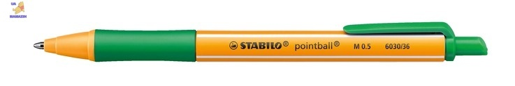 Ручка шариковая STABILO  pointball, зеленая