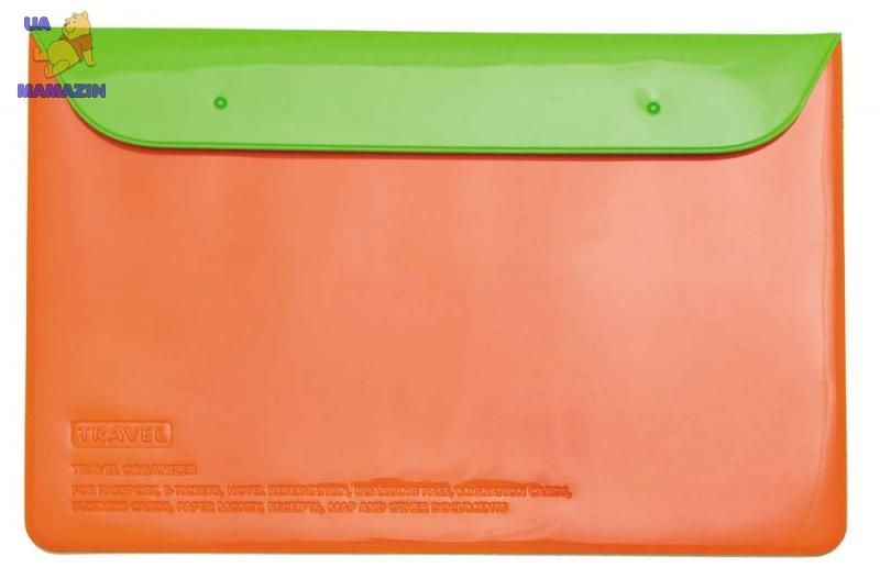 Органайзер для документов на кнопках оранж/салат.