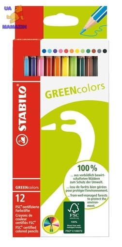 Карандаши 12 цв. STABILO GREEN Color