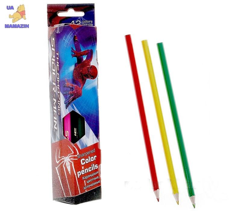 Карандаши цветные (треугольные), 18 цветов - Человек паук