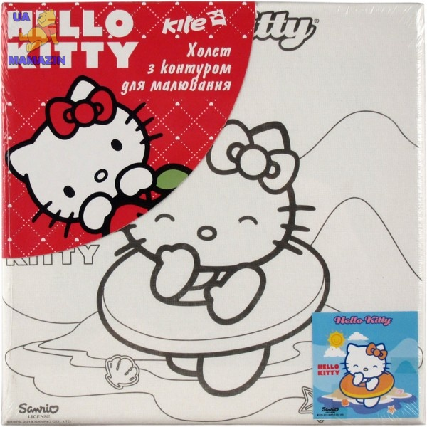 Холст с контуром 20х20 см Hello Kitty