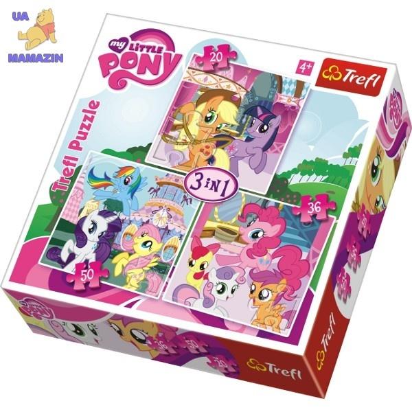 Пазлы Trefl, Hasbro, Маленькая пони, Рейнбоудеш и Флаттершай 3 в 1
