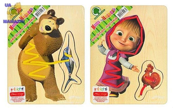 Деревянная  шнуровка  Маша и Медведь