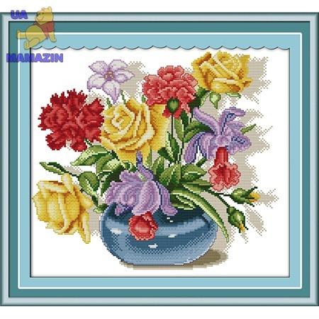 Вышивка крестиком Разноцветный букет