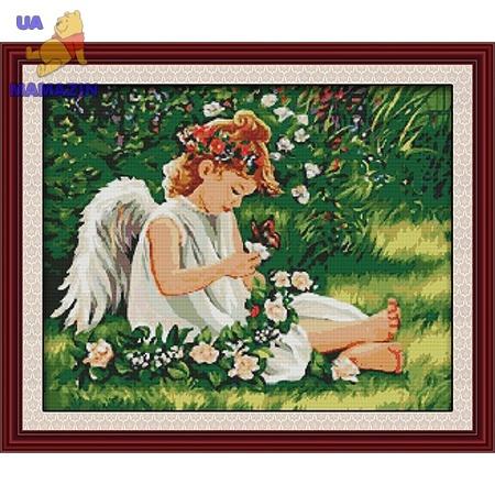 Вышивка крестиком Ангелочек в цветах