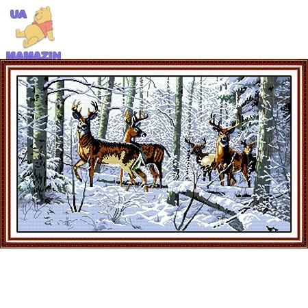 ИДЕЙКА вышивка Олени в лесу