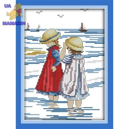 ИДЕЙКА вышивка Дети на море 3