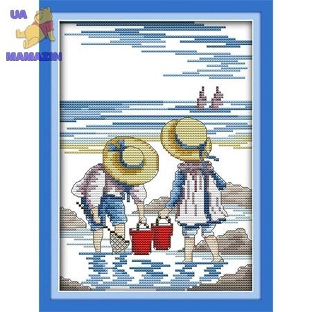 ИДЕЙКА вышивка Дети на море 2