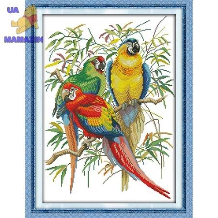 ИДЕЙКА вышивка. Яркие попугаи