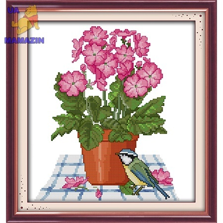 ИДЕЙКА вышивка Цветы и птичка