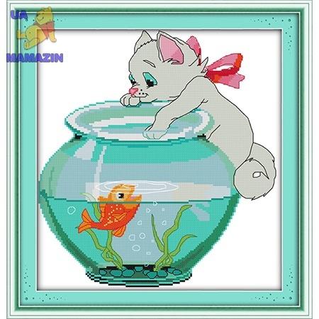 ИДЕЙКА вышивка. Котик и рыбка