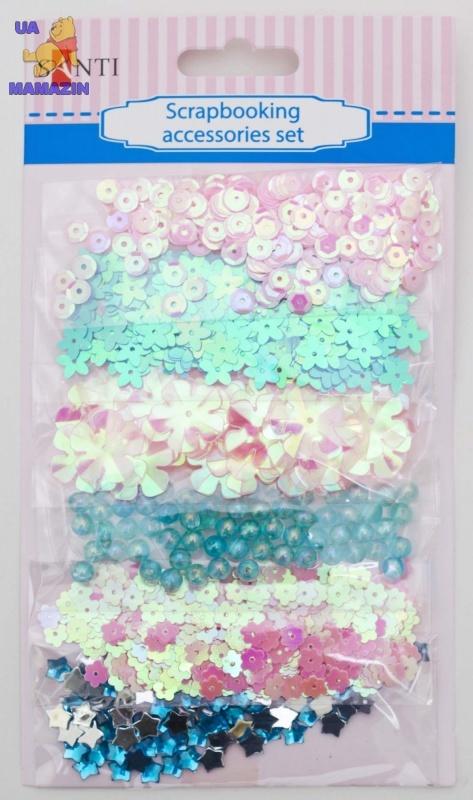 Набор декоративных украшений для скрапбукинга, розово-голубой