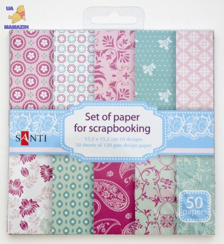 Набор бумаги для скрапбукинга,  бирюзово-розовый