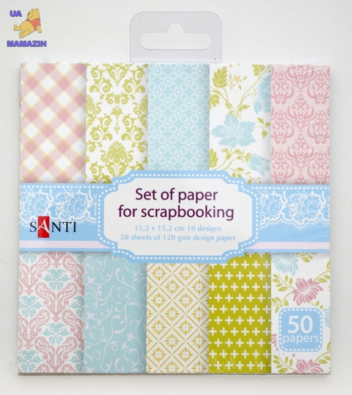 Набор бумаги для скрапбукинга, розово-голубый