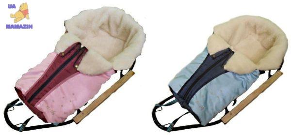 Конверт на овчине для санок