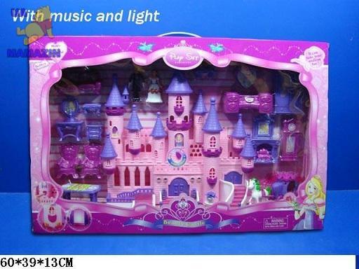 Замок  с мебелью, лошадкой, куколками
