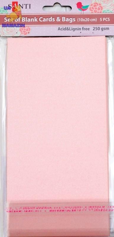 Набор розовых перламутровых заготовок для открыток