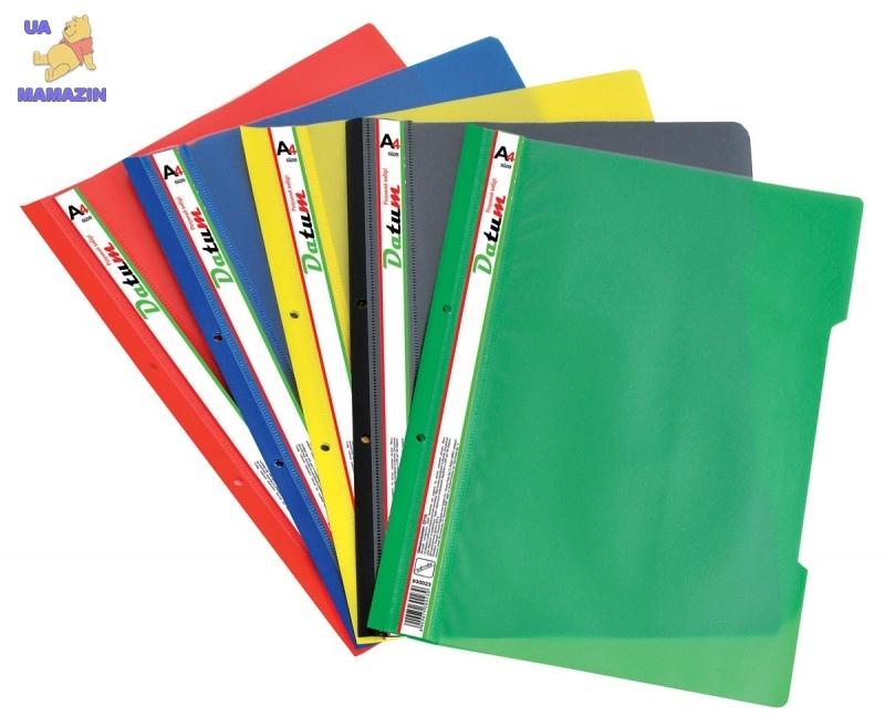 Скоросшиватель пластик. А4 зеленый с перфорацией