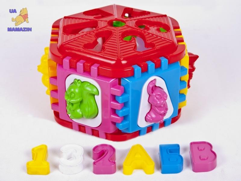 Логический шестигранник-сортер с буквами и животными