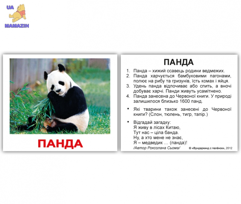 """Карточки мини украинские с фактами """"Дикі тварини"""""""