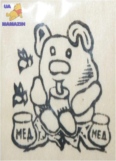 """Заготовка """"Мишка с медом"""" на магните с контурами рисунка"""