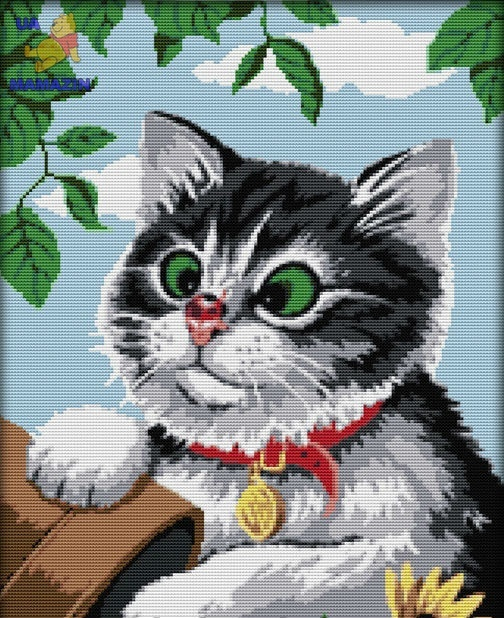 """Вышивка крестиком """"Игривый котик"""""""