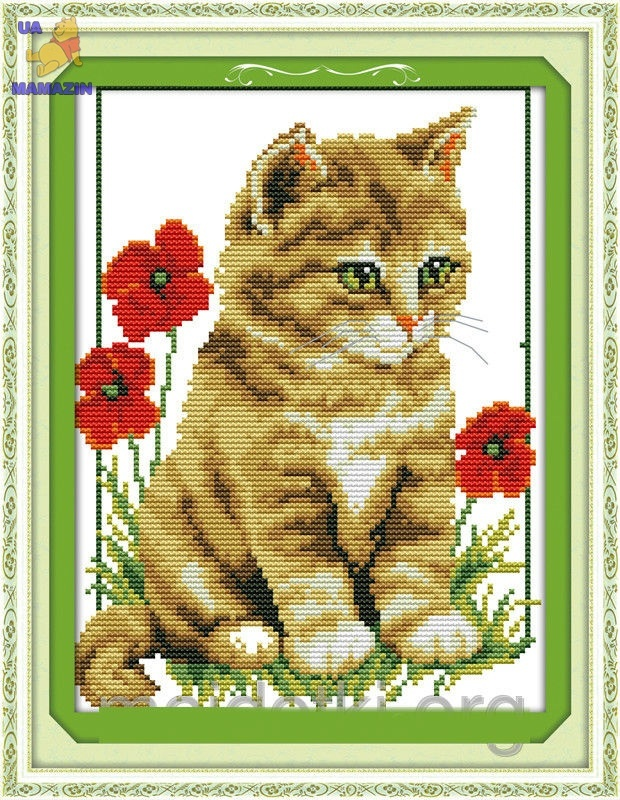 """Набор вышивки крестом """" Котик в цветах"""""""