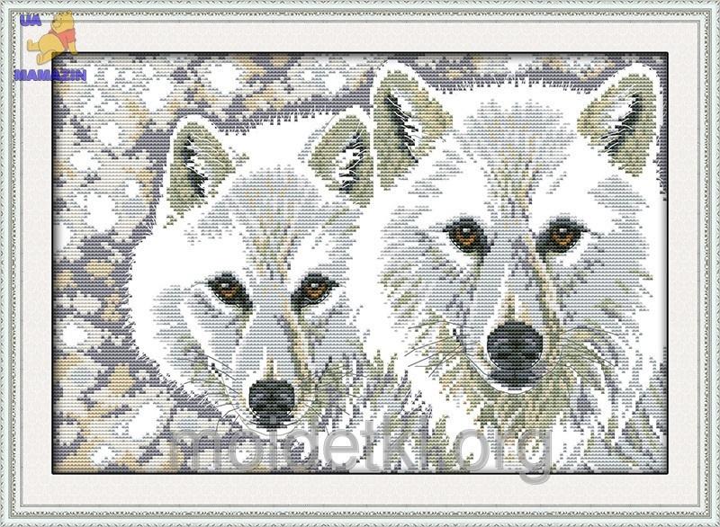 """Набор для вышивки крестом """" Волчья пара """""""