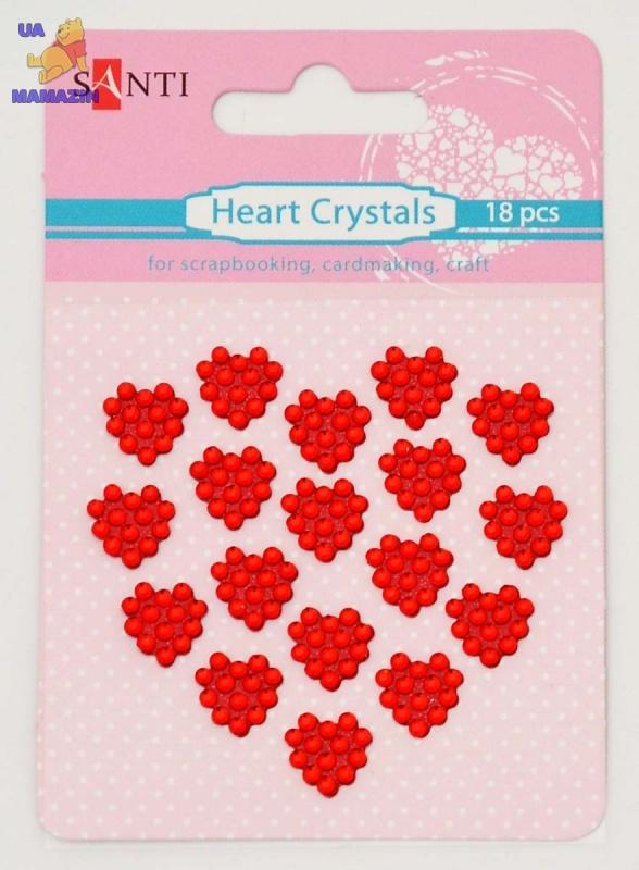 Набор кристалов самоклеющихся сердечки красные, 18 шт