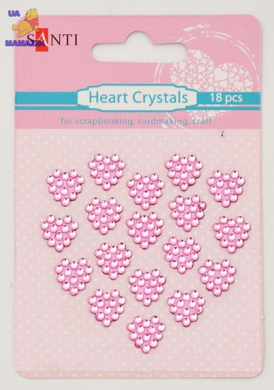 Набор кристалов самоклеющихся сердечки розовые, 18 шт