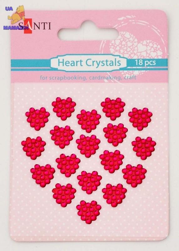 Набор кристалов самоклеющихся сердечки фиолетовые, 18 шт